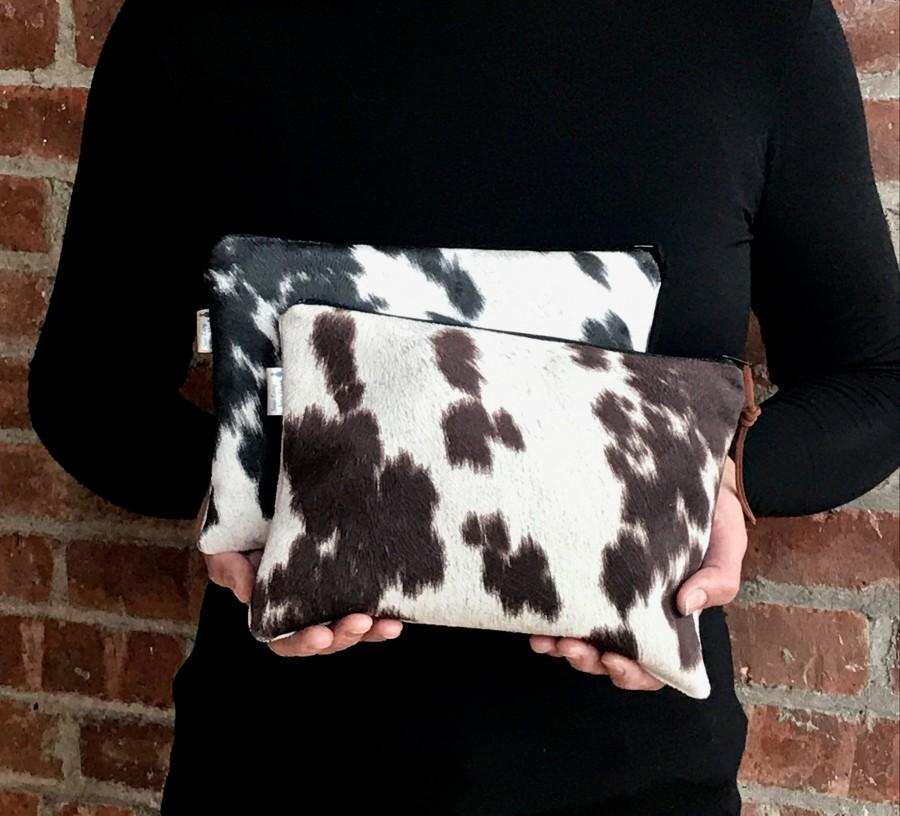 Свадьба - Cowhide bag,Black Cowhide, Brown Cowhide,Eco Friendly Faux cowhide leather Clutch Bag, Cowhide Purse, Animal print, Cow print, Holiday gift