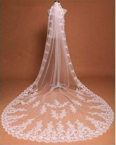 زفاف - High quality beautiful long veil with lace at the edge cathedral lenght
