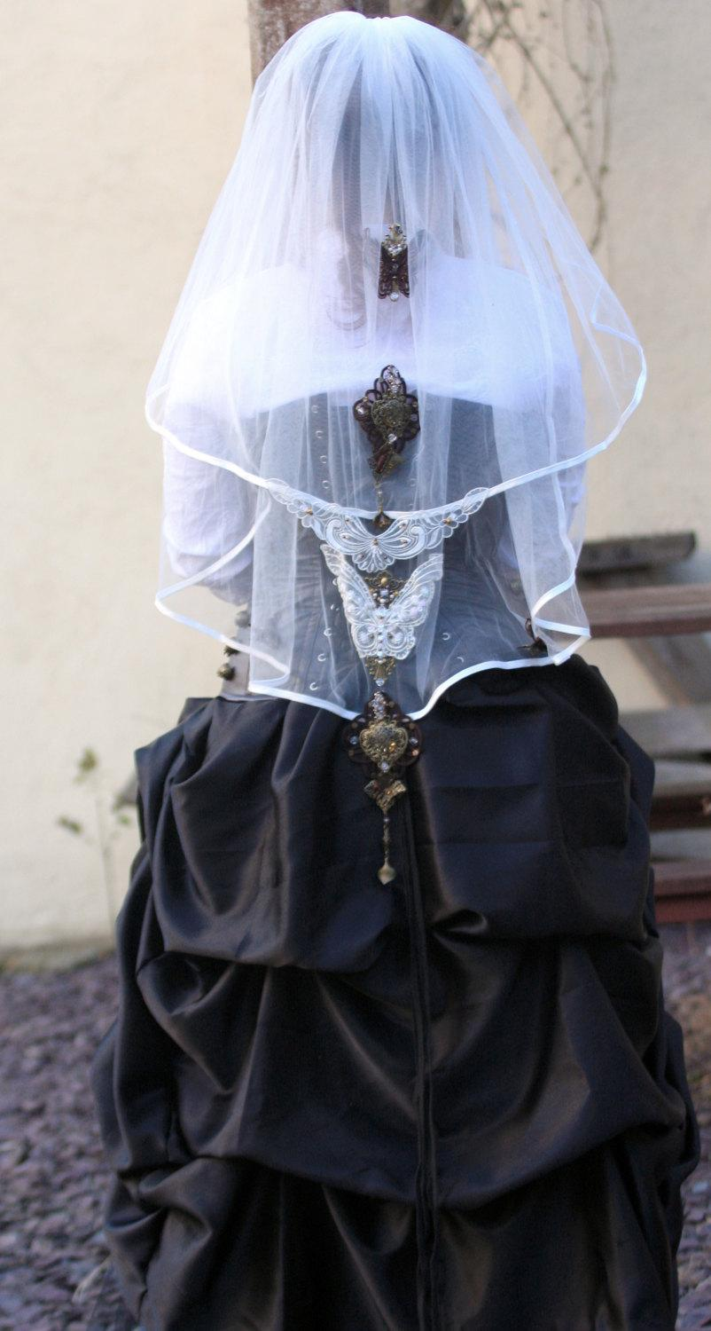 زفاف - Steampunk Vintage Style Butterfly Madness Bridal Ivory 2 Tier Wedding Veil