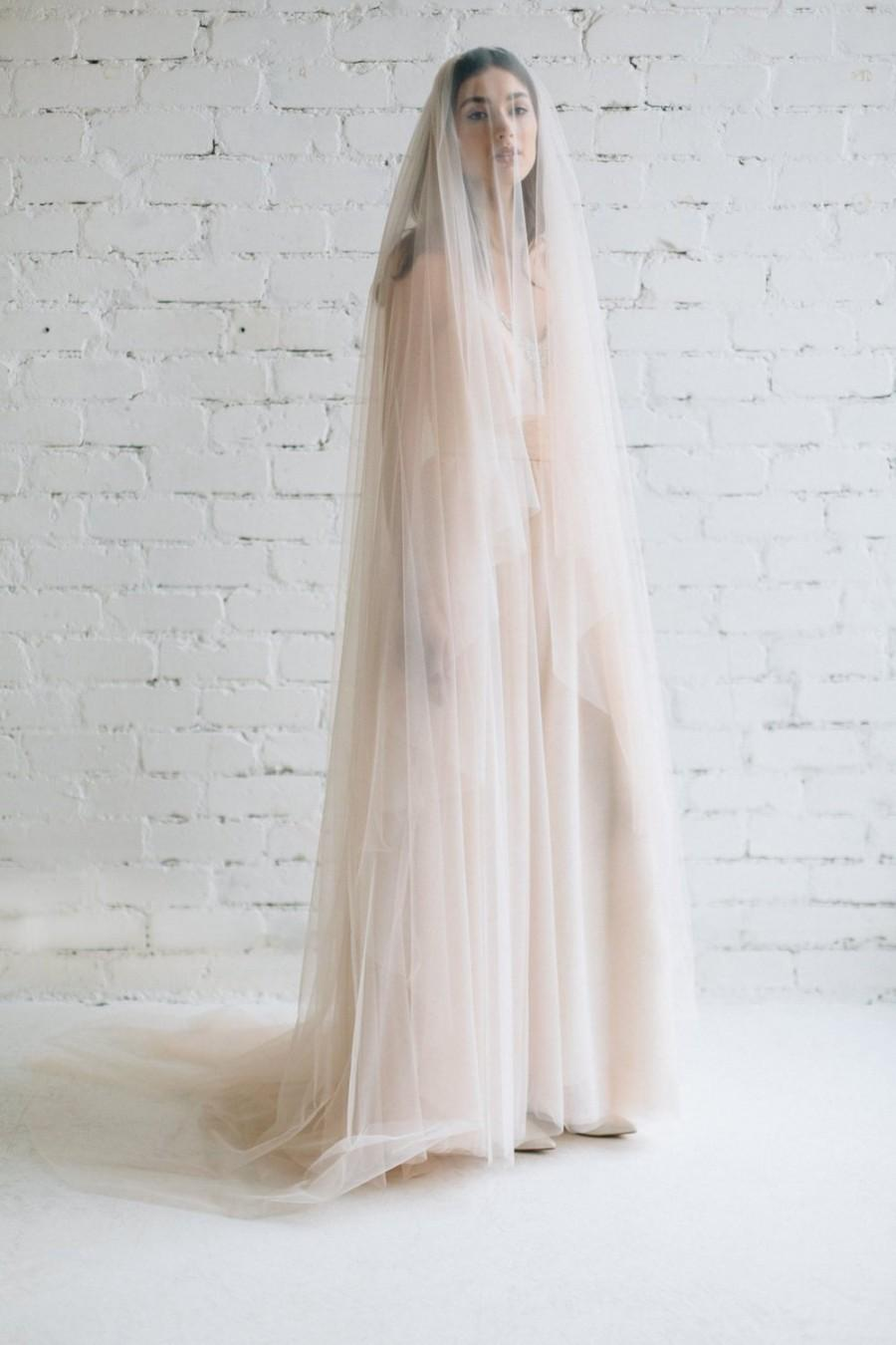 Wedding - Blush Wedding Veil, Cathedral Veil , Wide Tulle Veil, Veil with Blusher ,Circle Drop Veil, Blusher Veil, Long Tulle Veil -  JULIA