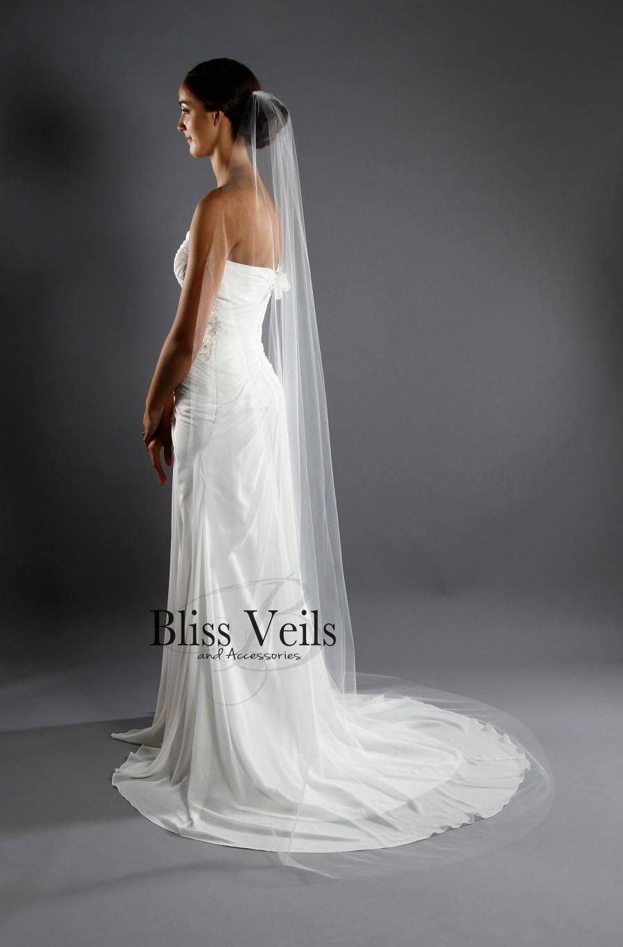 Свадьба - Thin Narrow Veil - Sheer Veil - Slim Veil - One Tier - Raw Edge - Chapel Length - Available in 10 Sizes and 11 Colors - Fast Shipping