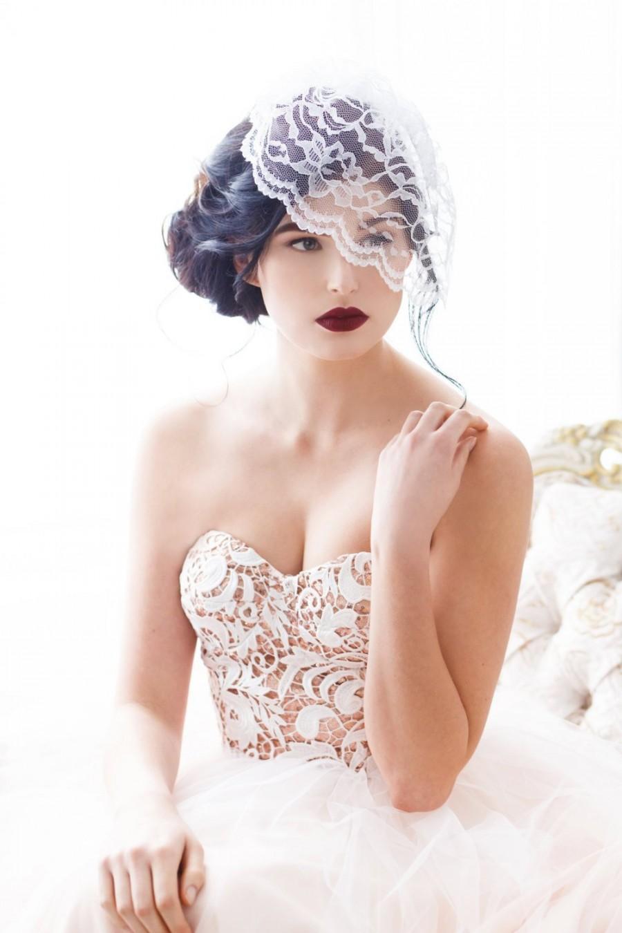 Wedding - Lace Birdcage Veil, Birdcage Veil, Birdcage Bridal Veil, Birdcage Veil Lace, Illusion Lace Veil, Lace Blusher, White, Black MEGGIE