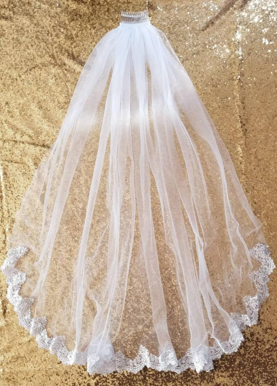 Свадьба - Wedding veil / tulle veil / lace veil/ white veil / fingertip veil / one tier veil / simple veil / ivory veil / wedding veil with lace