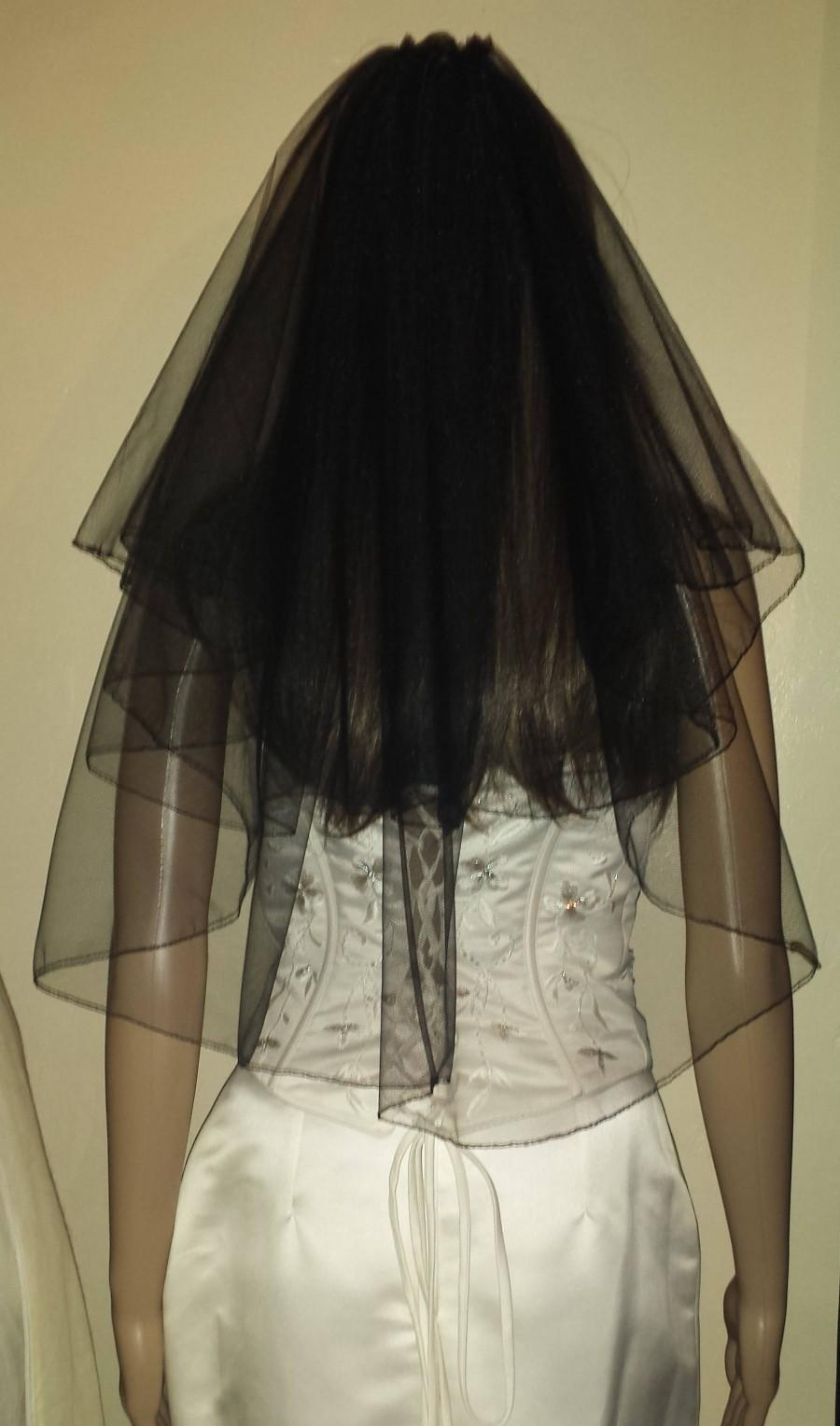 "زفاف - Black veil 2 Tiers 21""/26"" Gothic party Halloween wedding veil Pencil edged full circle style. FREE UK POSTAGE"