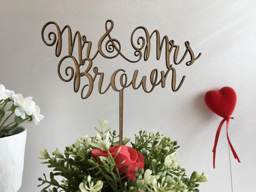 Mariage - Wedding Cake Toppers Mr & Mrs Rustic wedding decoration Personalized Calligraphy Wooden cake topper Last name cupcake Bride Groom Music Note