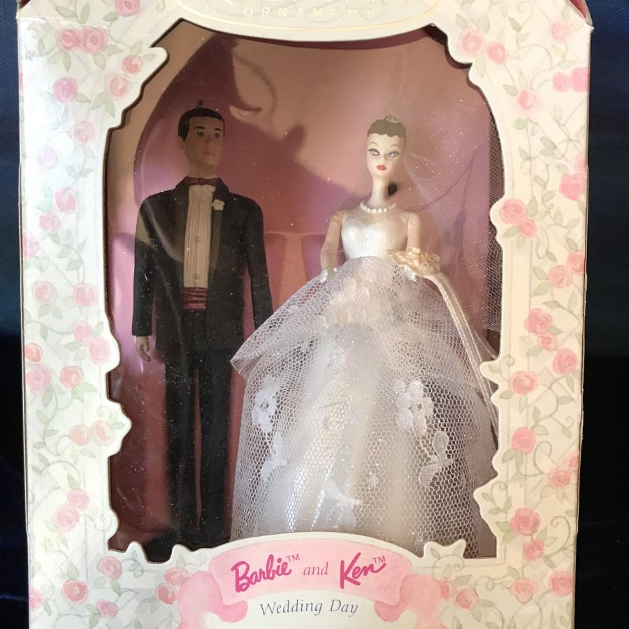 Свадьба - Hallmark Barbie/Ken Bride/Groom ornament was 34.95 now 22.95 wedding cake top engagement gift wedding decor  shower gift Hallmark collector