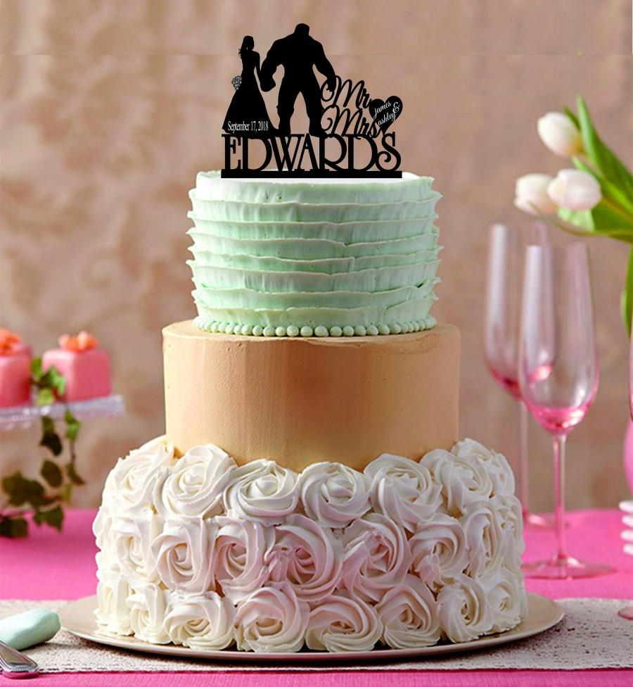 Wedding - Hulk and Bride wedding Cake Topper,  Custom Wedding Cake Topper, Mr and Mrs Cake Topper , Special Unique WeddingCake Topper, Wedding decor
