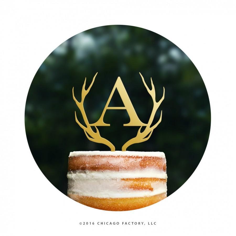 Wedding - Custom Initial Cake Topper Antler Cake Topper Hunter Wedding Cake Topper Letter Cake Topper Rustic Southern Cake Topper Monogram (T467)