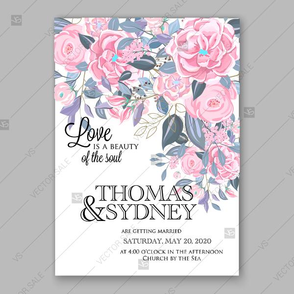 Pink Ranunculus Wedding Invitation Vector Floral Background