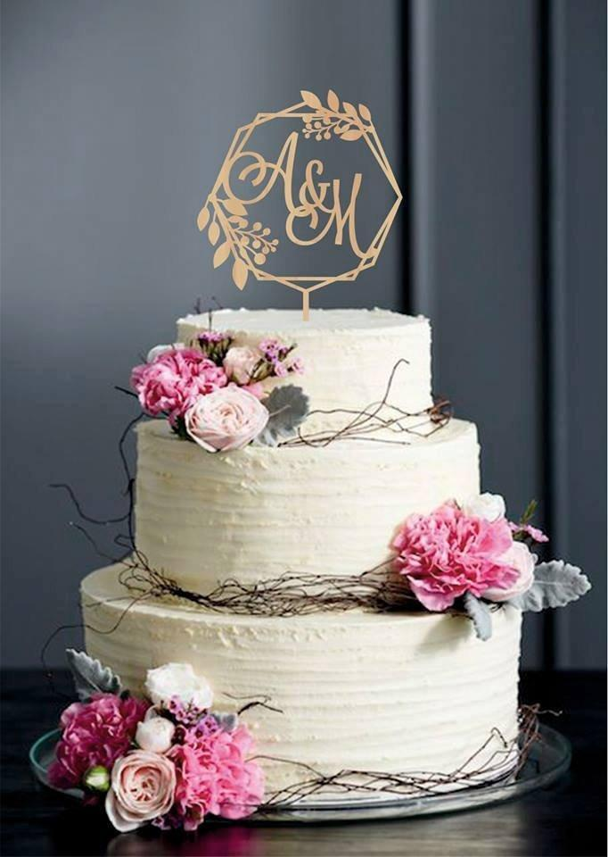 Wedding - Initials cake topper, Wreath wedding topper, Calligraphy Cake Topper, initial letters cake topper, Monogram Cake Topper, Gold cake topper
