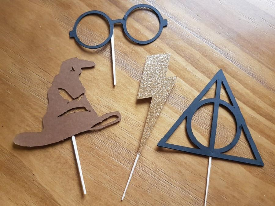 Свадьба - Wizard cupcake toppers,Wizarding world cupcake toppers, lightning bolt cupcake toppers, wizard party, first birthday,baby shower
