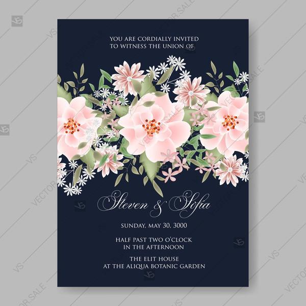 Hochzeit - Pink Rose dumalis clematis wedding invitation vector card template on dark blue background greeting card