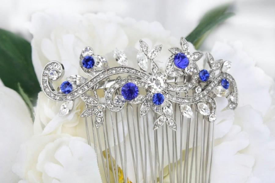 Wedding - sapphire blue crystal bridal hair comb for bride royal blue rhinestone silver hair comb blue wedding hair comb bridal hair accessories blue