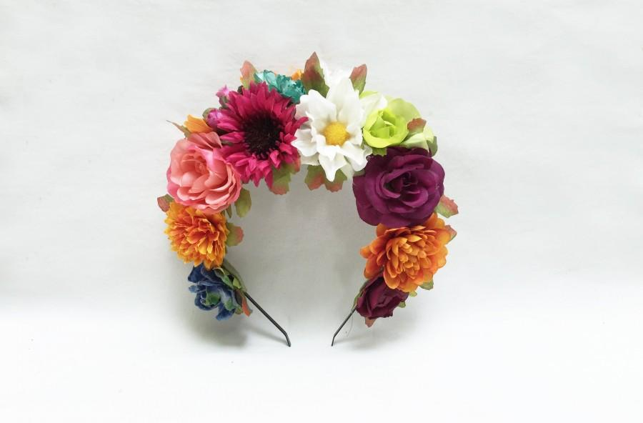 Mariage - Mexican Flower Crown, Day of the Dead Headpiece, Frida, Mexican Flower Crown, Huipil Dress, Headband, Dia de los Muertos, Floral Crown, Boho