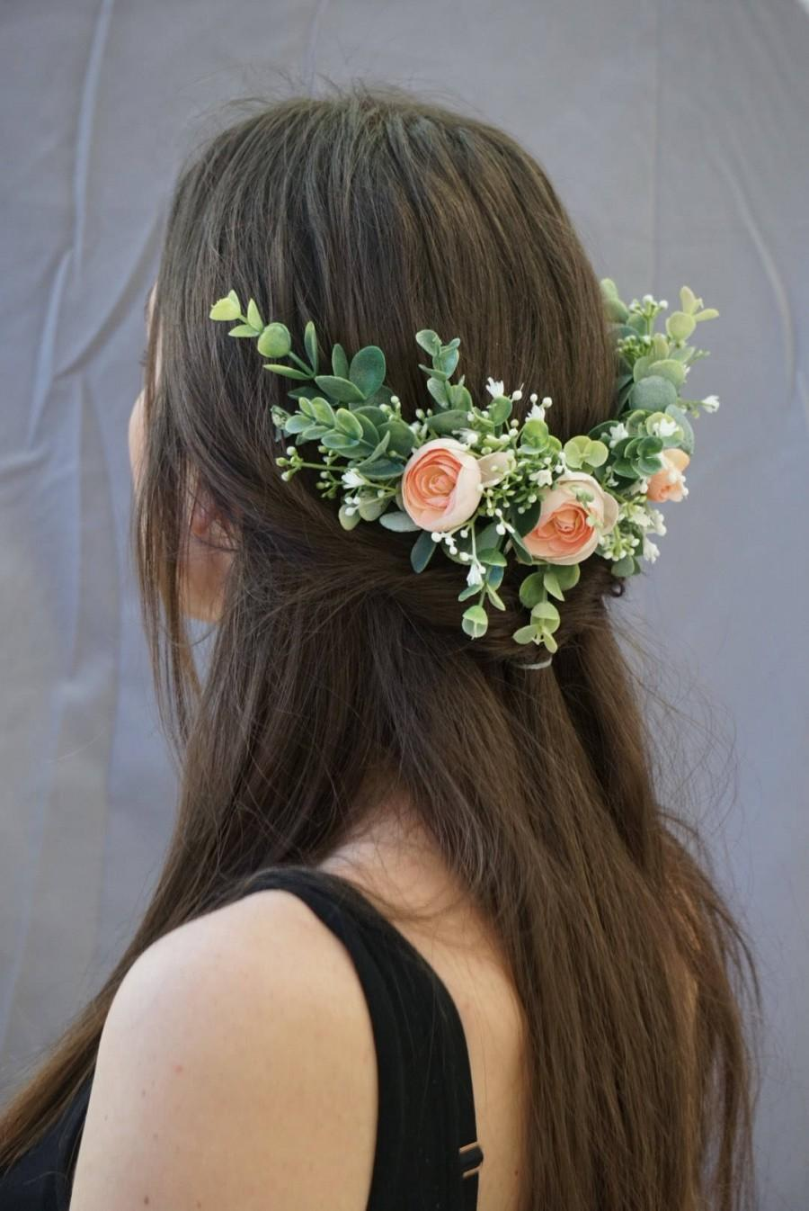 Mariage - Flower crown wedding, bridal flower hair comb, blush flower half crown, extended flower hair comb, flower headband