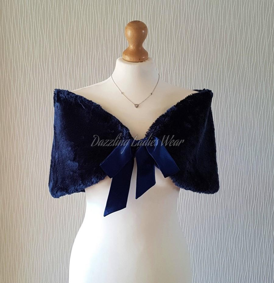 زفاف - Navy / Dark Blue Faux Fur Stole With Ribbon UK 8-20/ US 4-16 /  Bolero / Shrug / Jacket / Shawl / Wrap / Satin Lining