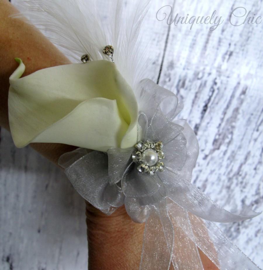 Wedding - White silver wrist corsage, Calla lily Wedding corsage, Prom wrist corsage