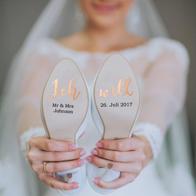 Hochzeit - Customizable shoe stickers for your wedding on vinyl foil rosegold for you and him, bridal shoe, groom shoe, wedding shoe