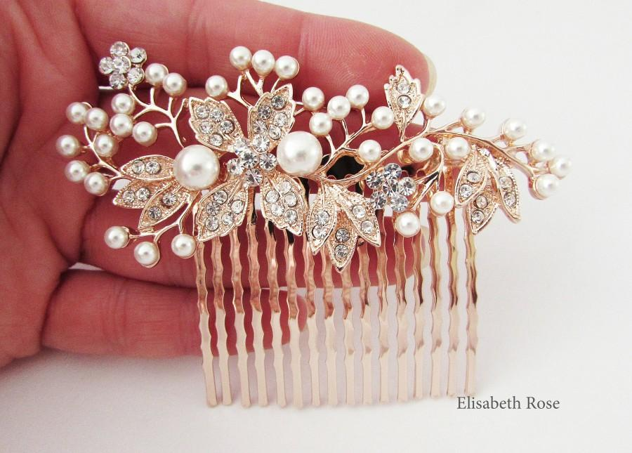 Hochzeit - Decorative Rose Gold Wedding Hair Comb, Crystal Hair Comb for Wedding, Rose Gold Bridal Hair Comb, Wedding Day Hair Comb, Hair Jewelry