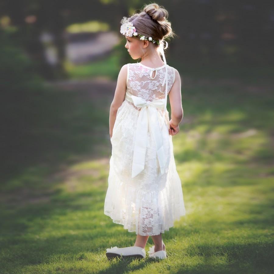 Wedding - Flower girl dress, Flower girl dresses, girls lace dress, Country Flower girl , Ivory lace dress, Rustic flower girl dress, Communion Dress