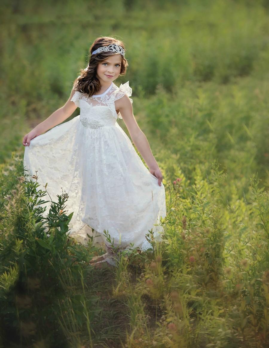 Wedding - flower girl dress, flower girl lace dresses, country lace dress, ivory lace dress cream, Rustic flower girl, girls lace dress, toddler dress