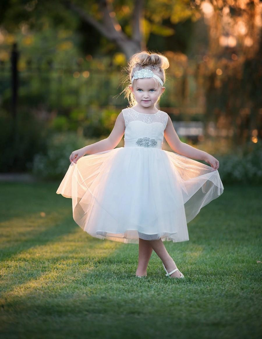 Mariage - Open Back Flower Girl Dress, Off White Flower girl dresses, Lace Rustic Flower Girl Dress, Country Flower Girl Dress, Tulle Tutu Girls Dress