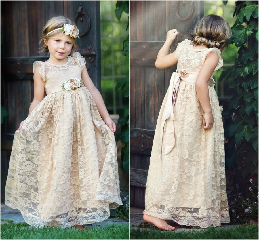 Wedding - Lace flower girl dress, flower girl dresses, lace baby dress, rustic girl dress, country flower girl, champagne dress, junior bridesmaids