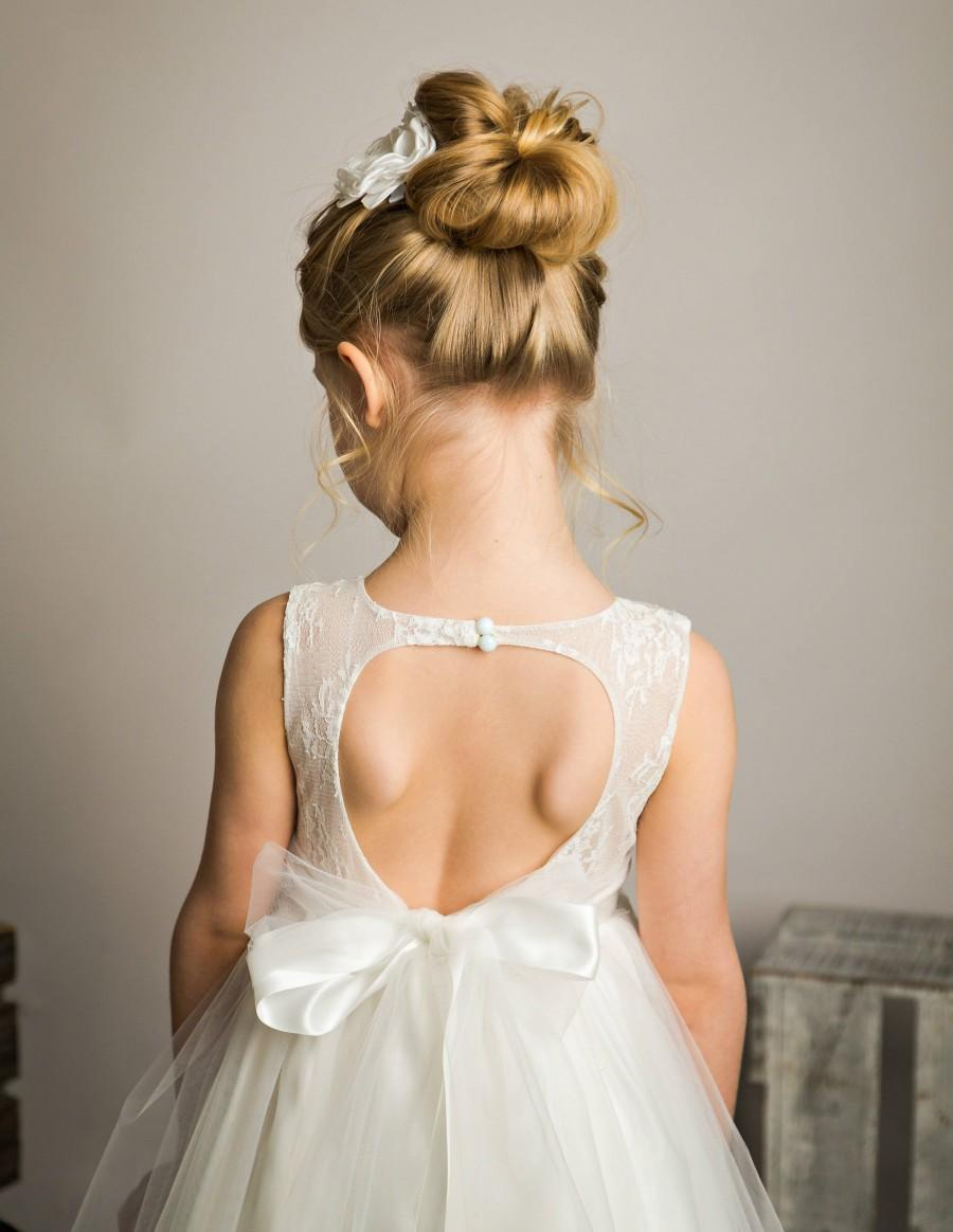 Mariage - Open Back Flower Girl Dress, Lace Off White Flower girl dress,Rustic Flower Girl Dress, Country Flower Girl Dress, Tulle flower girl dresses