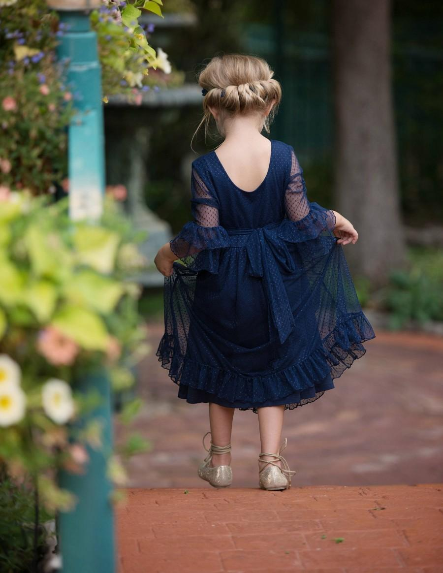 Свадьба - Navy blue flower girl dress, flower girl dresses, Rustic flower girl dress, lace flower girl dress, country lace dress, Baby white dress