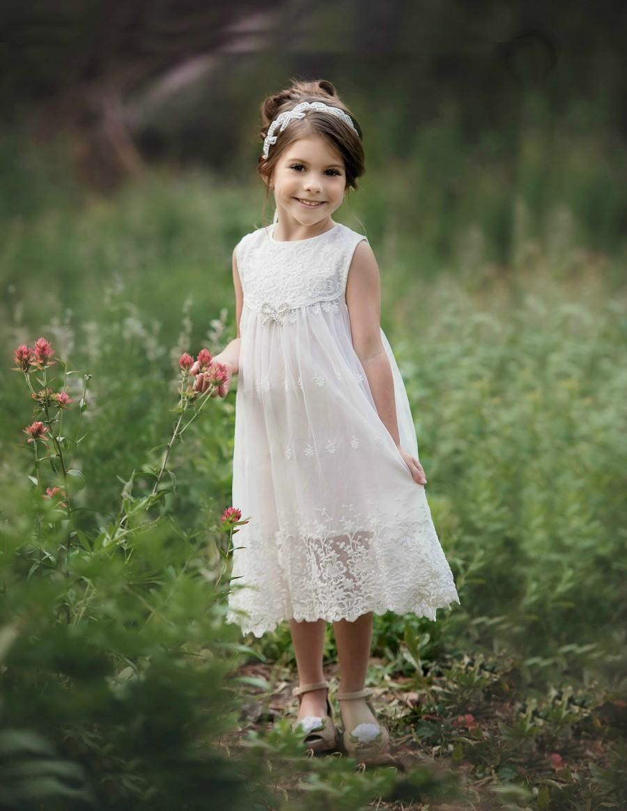 Свадьба - Lace flower girl dress, Flower girl dresses, Country rustic lace flower girl dress,White Lace dress, Toddler baby lace dress,communion dress