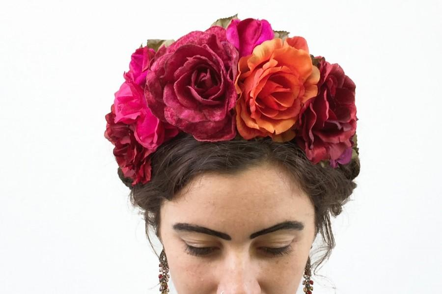 Wedding - Frida Flower Crown, Mexican Headpiece, Day of the Dead Floral Crown, Frida Costume, La Catrina Costume, Kahlo, Bloom Design Studio, Fiesta