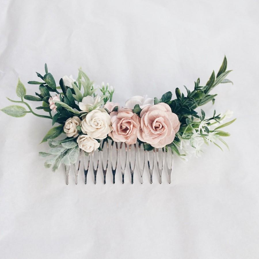 Mariage - Hair comb Pale pink and dusty rose and grenery headpiece, floral hair piece, pale pink hair clip, bridal hair piece, blush pink comb, leavfy