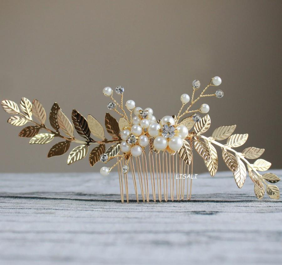 Hochzeit - LISALI Gold Leaf Hair Comb, Bridal Hair Comb,  Wedding Hair Comb, Gold Pearl Hair Comb, Silver Leaf Hair Comb