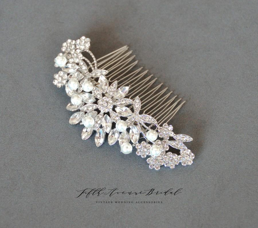 Wedding - Bridal Hair Comb Silver, Pearl Hair Comb, Wedding Hair Comb, Crystal Hair Comb, Bridal Headpiece, Floral Hair Piece LF 30044