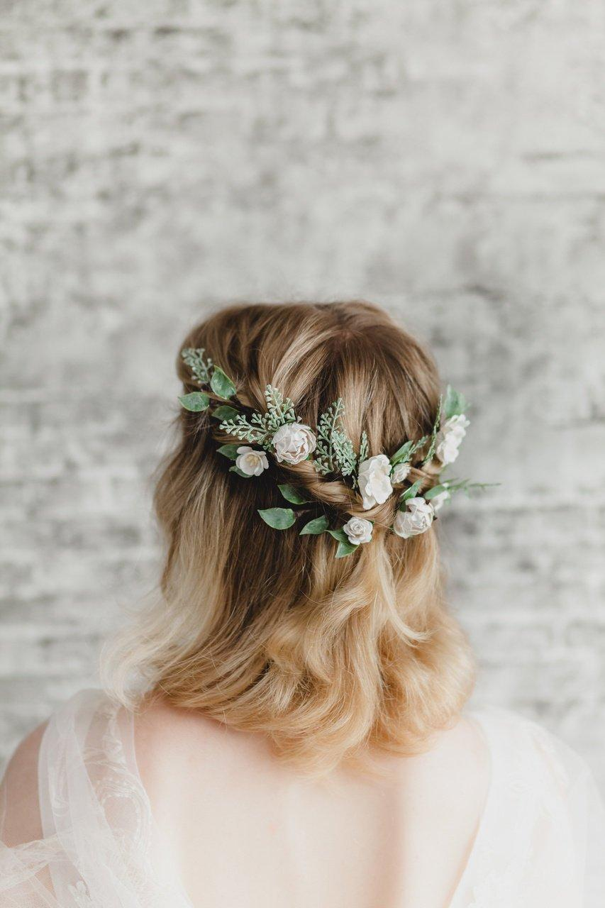 Свадьба - Bridal Headpiece Floral Leaf Headband  Woodland Wedding Hair Piece Bridal Flower Hair Pins Set White Rose Hair Bobby Pin Sage Greenery Hair