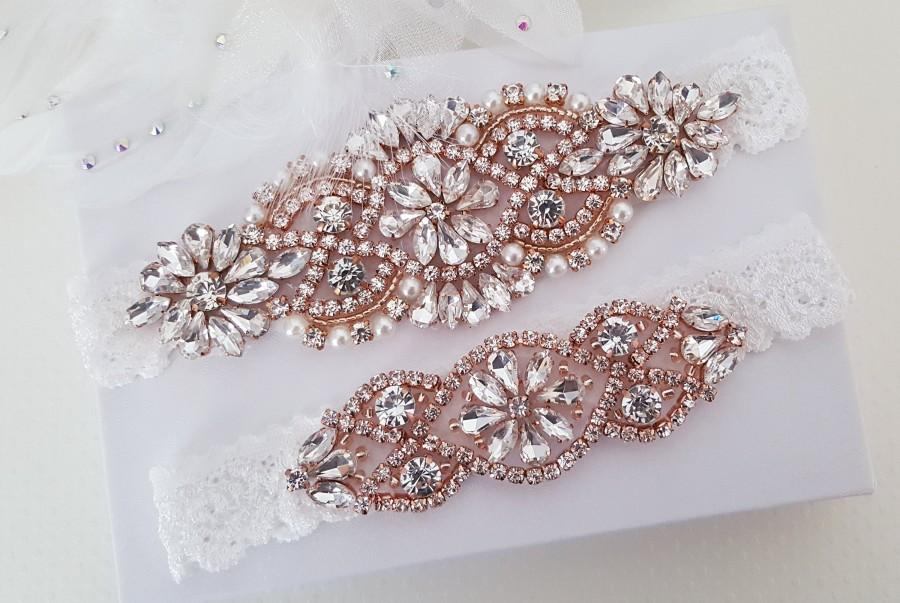 زفاف - Rose Gold Bridal Garter, Lace Wedding Garter Set, Bridal Garter Set, Vintage Wedding-Style 795