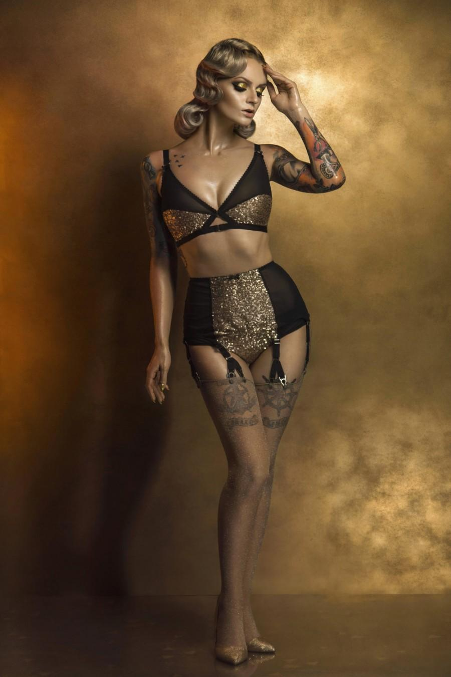 زفاف - Gold Sequin Knickers with black mesh, Glittery Burlesque panties. Vintage Style Lingerie by Pip & Pantalaimon. Plus Size. Sizes 8-22