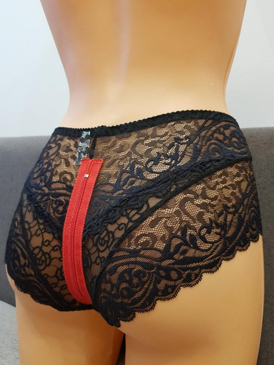 Mariage - Handmade black,crotchless panties,lace,high waist,wedding,crotchless,shorts,lace panties,sexy lingerie woman,night thong,underwear,zipper