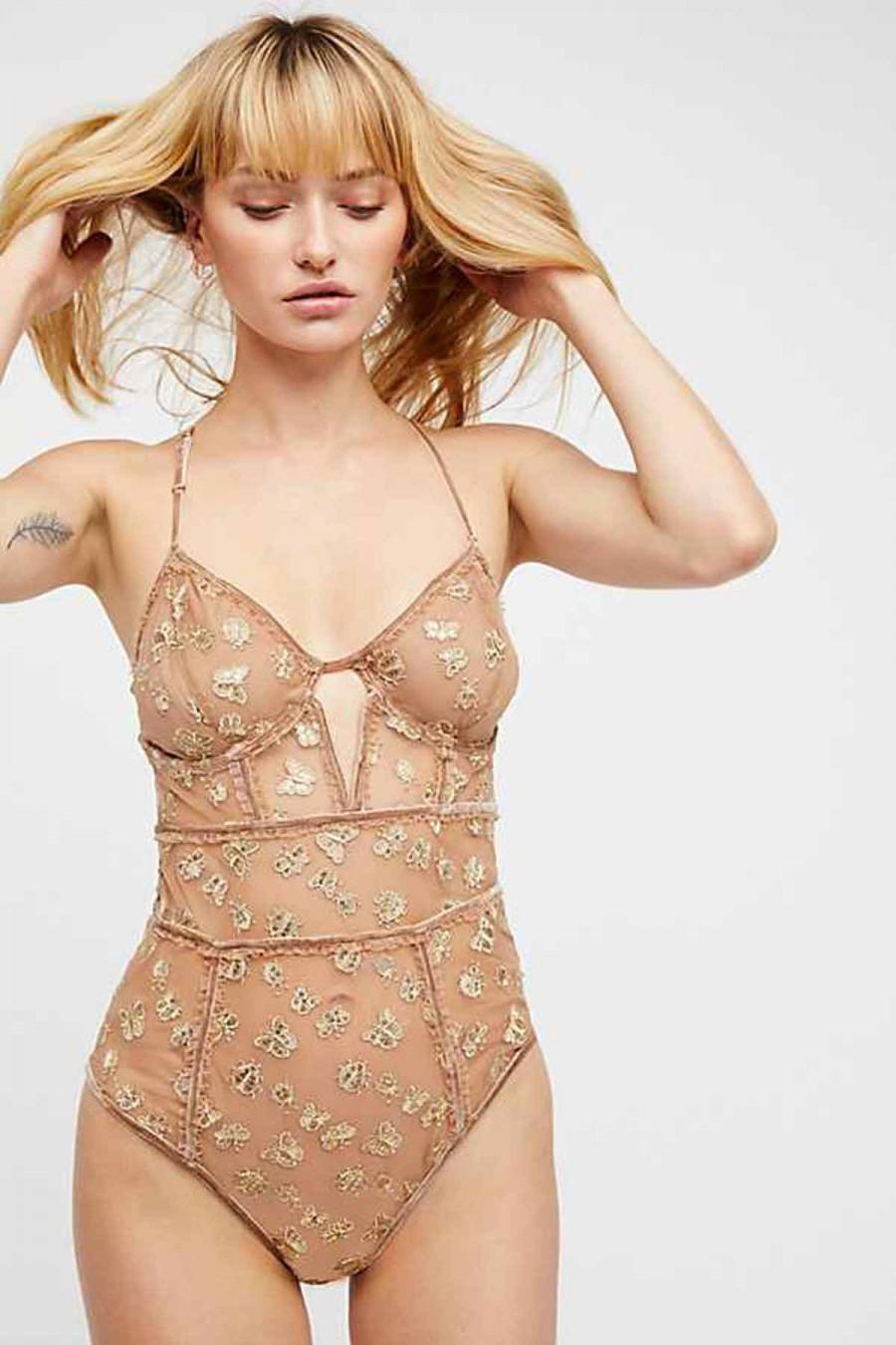 زفاف - FOR LOVE & LEMONS GOLDEN GARDEN EMBROIDERED BODYSUIT