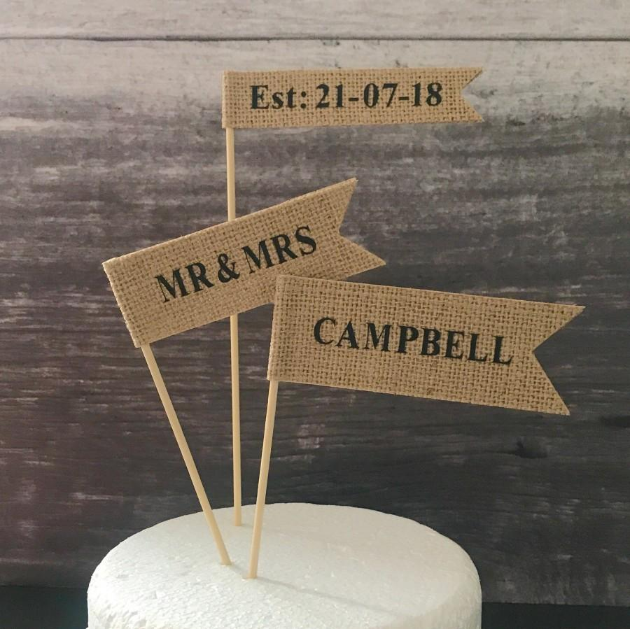 Wedding - Custom wedding cake topper, contemporary cake flags, cake banner, hessian flags with black letters for rustic wedding or country wedding