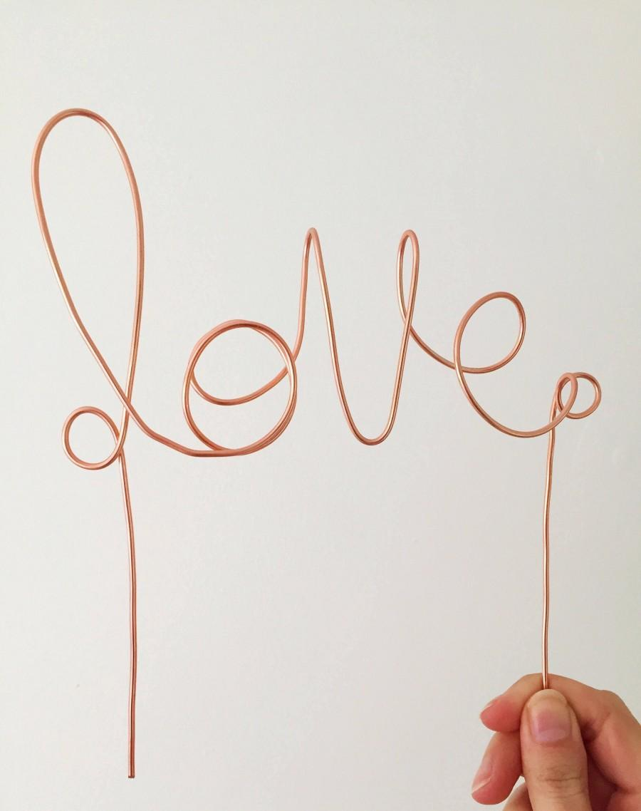 Hochzeit - Love wire cake topper - rustic decor - wedding cake topper - love topper for wedding decorations - cake decoration - bohemian wedding