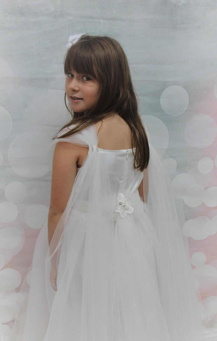 Mariage - Flower Girl Dress-White Flower Girl Dress- White Pageant Girl Dress-  Lace Girls Dresses- Communion Dresses