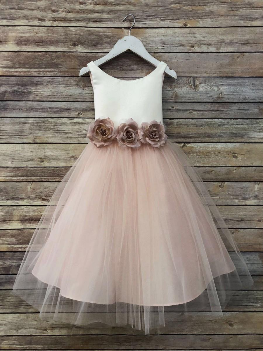 Wedding - Tulle overlay Flower Girl Dress with Pin on Silk Flowers, Three colors available!