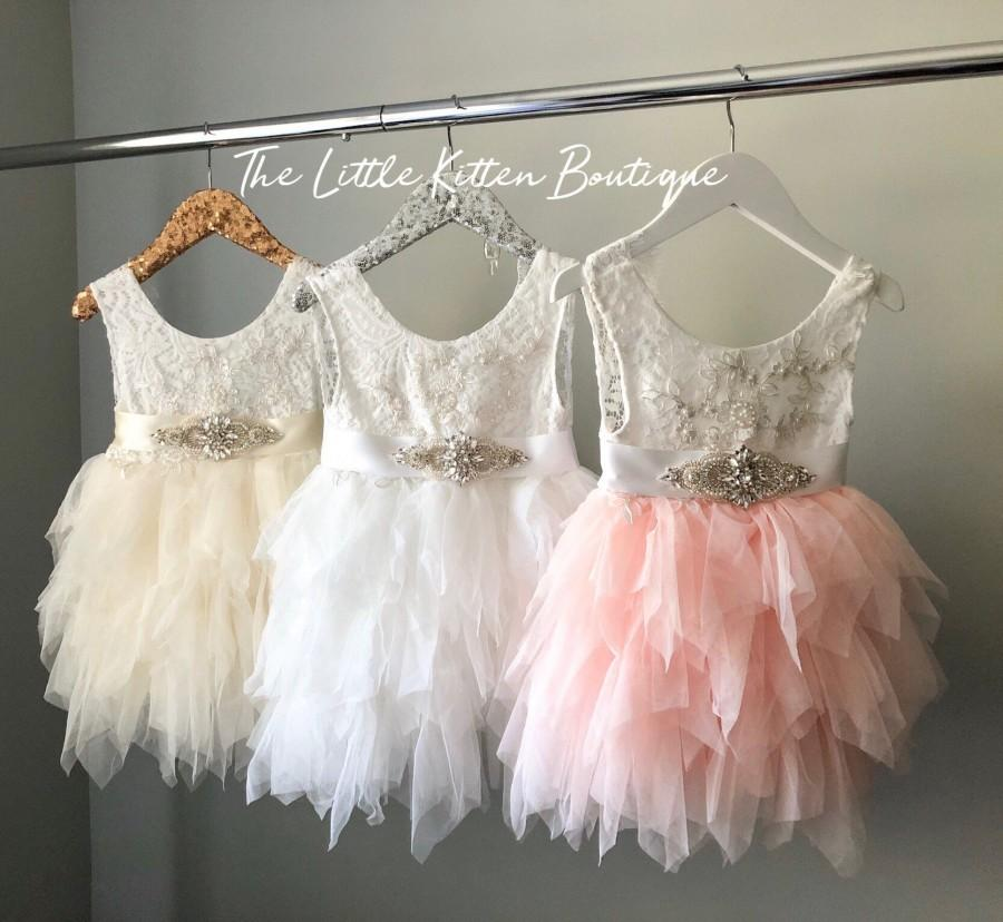 زفاف - White flower girl dress White lace dress Blush Flower Girl dress Toddler flower girl dress lace dress rustic dress pink first Birthday dress