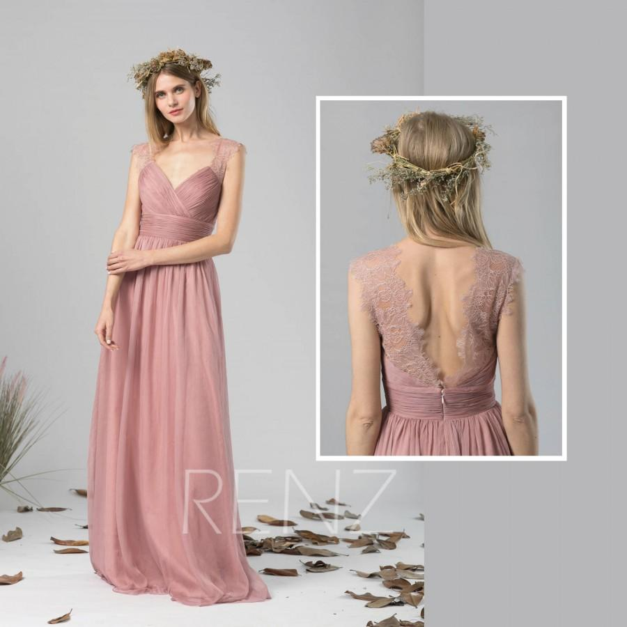 Mariage - Bridesmaid Dress Dusty Rose Chiffon Dress Wedding Dress,Ruched V Neck Maxi Dress,Illusion Back Party Dress,Sleeveless Evening Dress(L422)