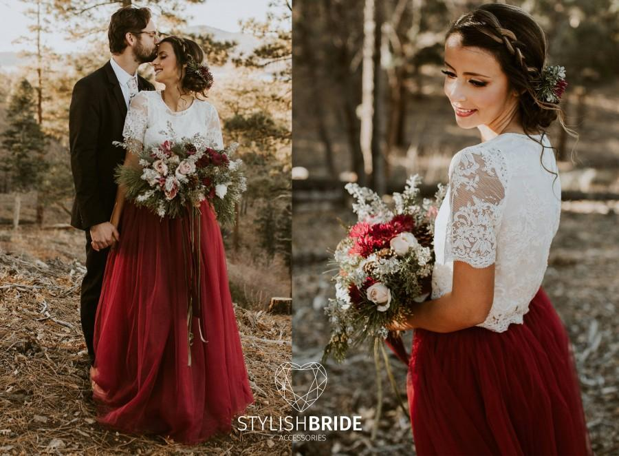 Mariage - Belle Wine Dress Tulle Set Lace Crop Top with Sleeves and Tulle skirt long, Lace Crop Top, Bridesmaids Dress, Tulle Dark Red Burgundy Skirt
