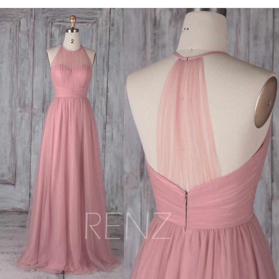 زفاف - Bridesmaid Dress Dusty Pink Tulle Dress,Wedding Dress,Illusion Sweetheart Maxi Dress,Halter Sleeveless Prom Dress,A-Line Party Dress(HS488B)