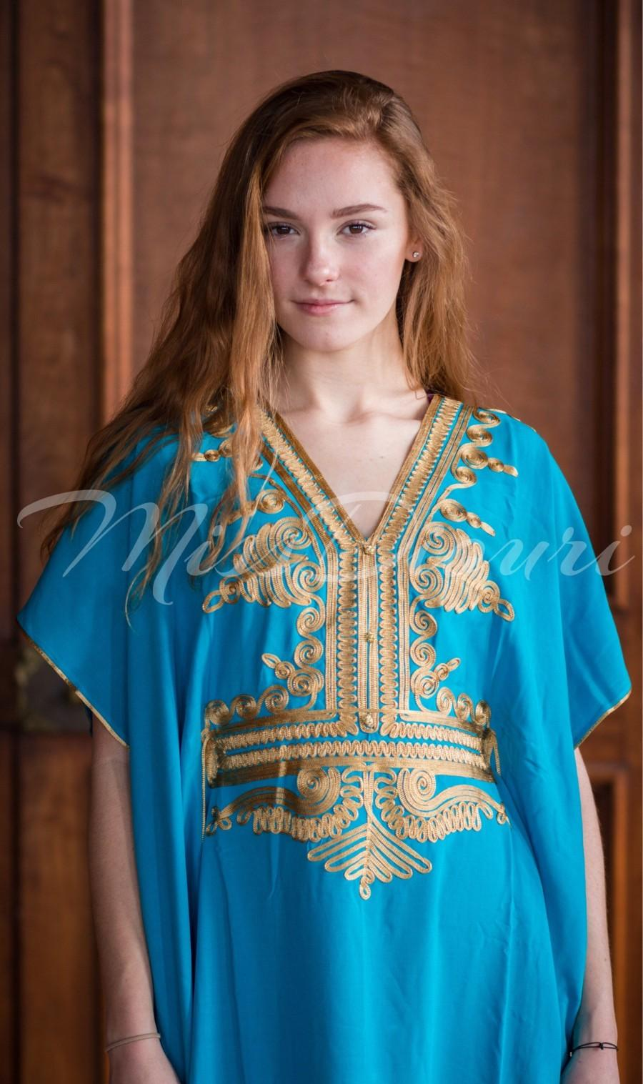 Wedding - Aqua Moroccan kaftan  Batwing Maxi Dress , Dubai Sexy Arabian Abaya one size fits from XS to 2XL  caftan with gold embroidery