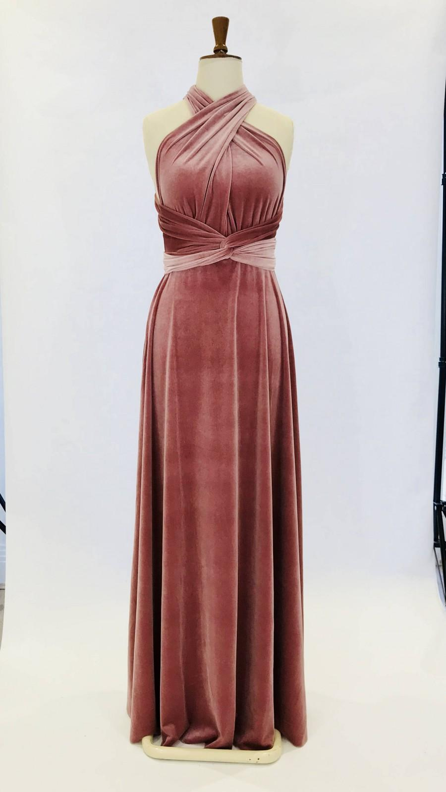 Hochzeit - Dusky pink velvet dress, infinity dress, bridesmaid dress, prom dress, ball gown, long dress, evening dress, convertible dress, party dress