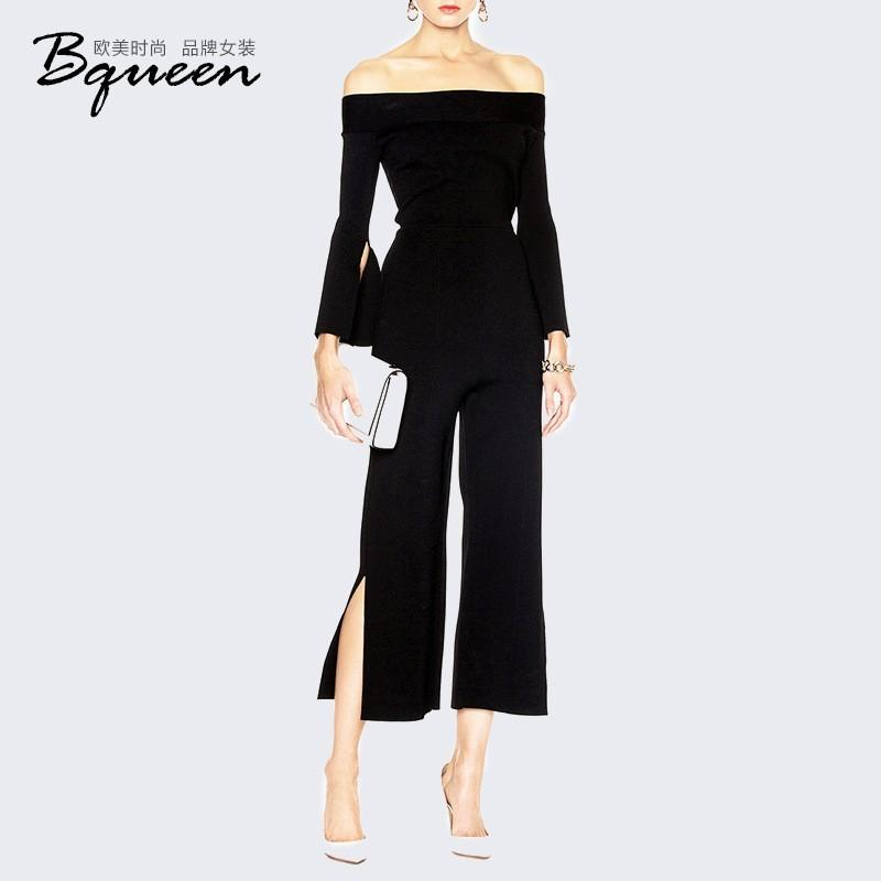 Mariage - Vogue Sexy Split Slimming Off-the-Shoulder Fall 9/10 Sleeves Jumpsuit - Bonny YZOZO Boutique Store